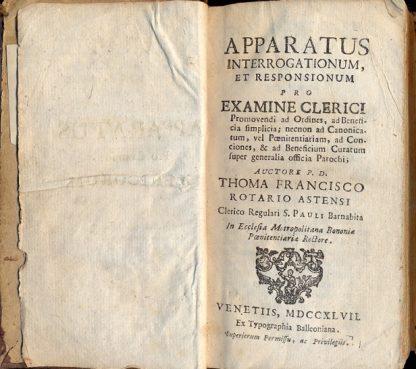Apparatus interrogationum et responsionum pro examine Clerici.Promovendi ad Ordines,ad Beneficia simplicia;necnon ad Canonicatum,...