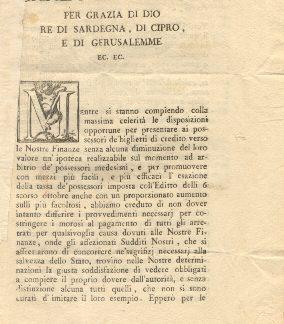 Carlo Emanuele dispone il pagamento, da parte di tutti i morosi, di tutti gli arretrati per qualsivoglia causa dovuti alle Finanze...14 agosto 1798.