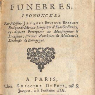 Recueil des Oraisons Funebres.