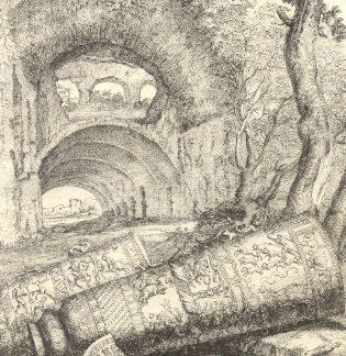 Archi con vasi e corno.