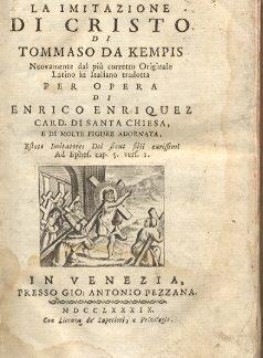 La imitazione di Cristo. Nuovamente dal più corretto originale latino in italiano tradotta per opera di Enrico Enriquez.