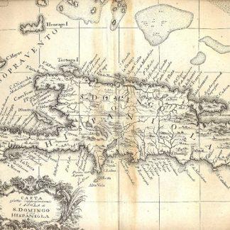 Atlante dell'America contenente le migliori carte geografiche: Carta esatta rappresentante l'isola di S. domingo o sia Hispaniola.