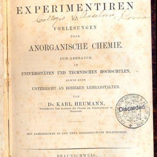 Anleitung zum experimentiren bei vorlesungen uber anorganische chemie.