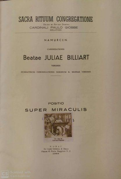 Sacra Rituum Congregatione. Canonizationis Beatae Juliae Billiart.