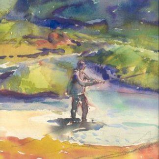 Pescatore di trote al Breuil.