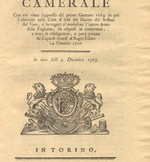 Manifesto Camerale riguardo l'intero diritto della Foglietta...3 dicembre 1763.