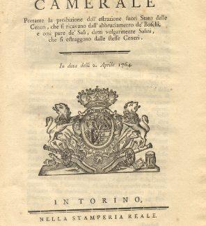 Manifesto Camerale circa la proibizione dell'estarzione fuori Stato delle Ceneri....2 aprile 1764.