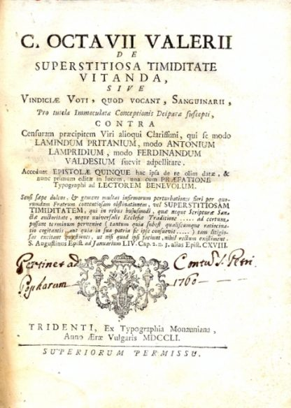 De Superstitiosa Timiditate Vitanda, sive Vindiciae Voti, quod Vocant Sanguinari.