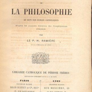 De l'unité dans l'enseignement de la philosophie au sein des écoles catholiques.