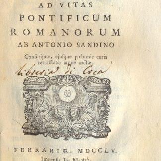 Disputationes Historicae ad Vitas Pontificum Romanorum, Conferiptae, ejusque postumis curis retractate atque auctae.