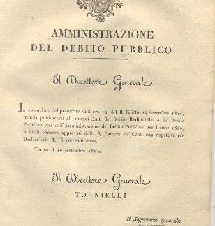 Circolare con la quale il Direttore Generale dell'Amministrazione del Debito Pubblico manda pubblicarsi i Conti del Debito Redimibile, e del Debito Perpetuo resi dall'Amministrazione del Debito Pubblico per l'anno 1820. 10 settembre 1821.