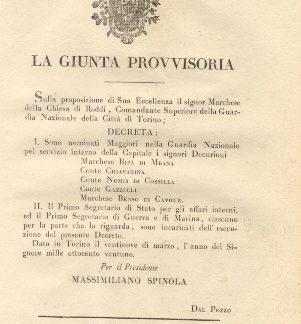 Decreto della Giunta Provvisoria con il quale nomina cinque signori Decurioni a Maggiori nella Guradia Nazionale per servizio interno della Capitale...29 marzo 1821.