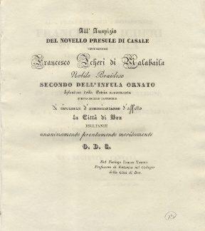All'auspizio del novello presule di Casale virtuosissimo Francesco Icheri di Malabaila, Nobile Braidese secondo dell'Infula ornato..