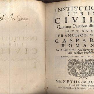 Institutiones juris civilis. Quatuor partibus distributae.