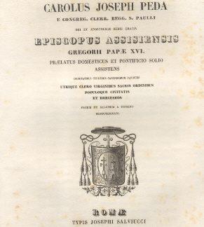 Carolus Joseph Peda, Episcopus Assisiensis Gregorii Papae XVI.