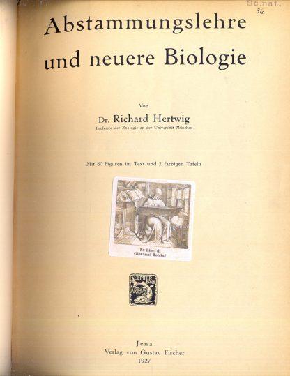 Abstammungslehre und neuere biologie.