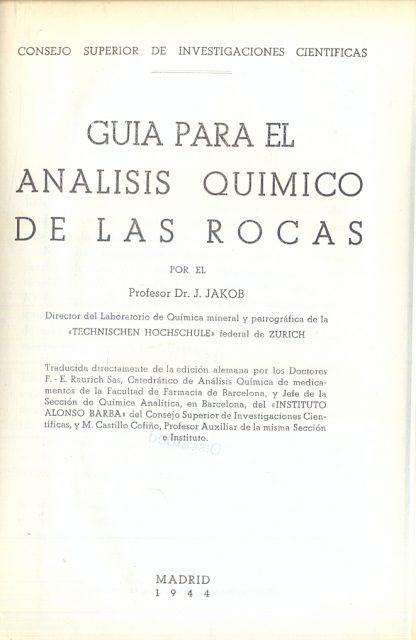 Guia para el analisis quimico de las rocas.