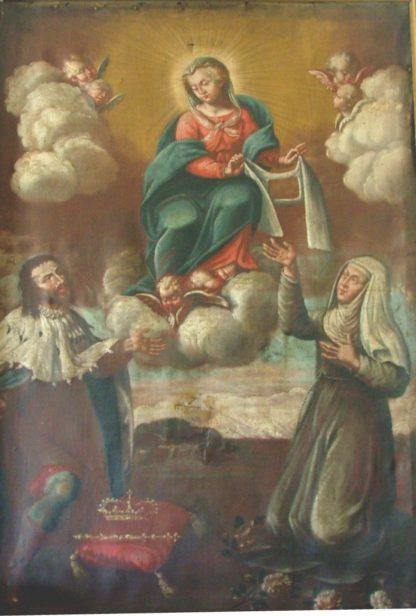 Madonna Assunta contornata da Cherubini. Ai lati inginocchiati: una figura di Re, sconosciuto, ed una Suora.