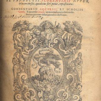 Pandectarum Iuris Civilis ( 1° : Digestum Vetus - 2° : Infortiatum tomus secundus - 3° : Digestum Novum - 4° : Codicis Libri XII - 5° : Volumen Legum (1583): Tres.../ Institutionum...).