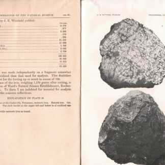 A recently found Iron meteorite from Cookeville, Putnam County, Tennessee. N. 2153 - From te Proceeding of the United States National Museum, Vol. 51, pp. 325-326, with plate 28.