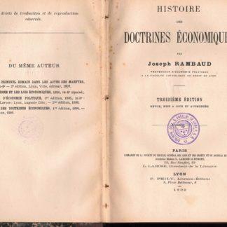 Histoire des doctrines economiques